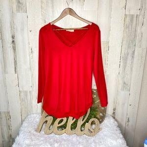 3/$25 A.gain Red Twist Neckline Long Sleeve Blouse